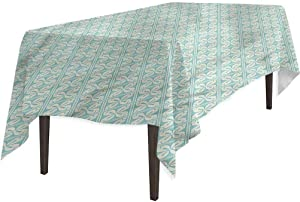 Spillproof Fabric Tablecloth, Garden Antique Style Floral Mosaic, Table Cover Great for Kitchen Dinning, 60