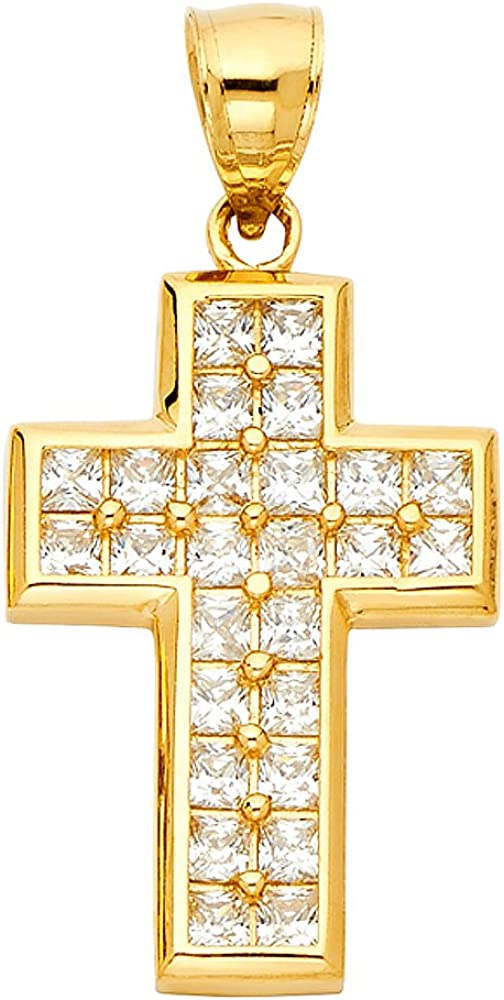 14k Yellow Gold CZ Religious Cross Pendant