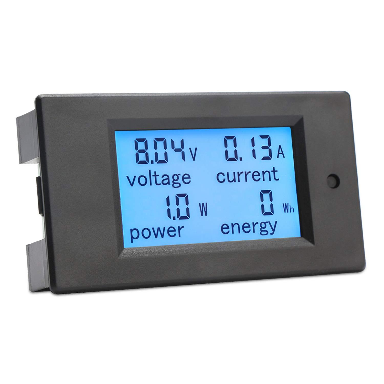 DROK Digital Multimeter DC 6.5-100V 20A Voltage Amperage Power Energy Meter DC Volt Amp Tester Gauge Monitor LCD Digital Display with Blue Backlight Measuring Volts Current with Built-in Shunt 200139US