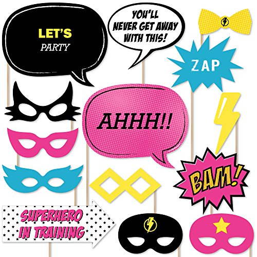 Big Dot of Happiness BAM! Girl Superhero - Photo Booth Props Kit - 20 Count ()