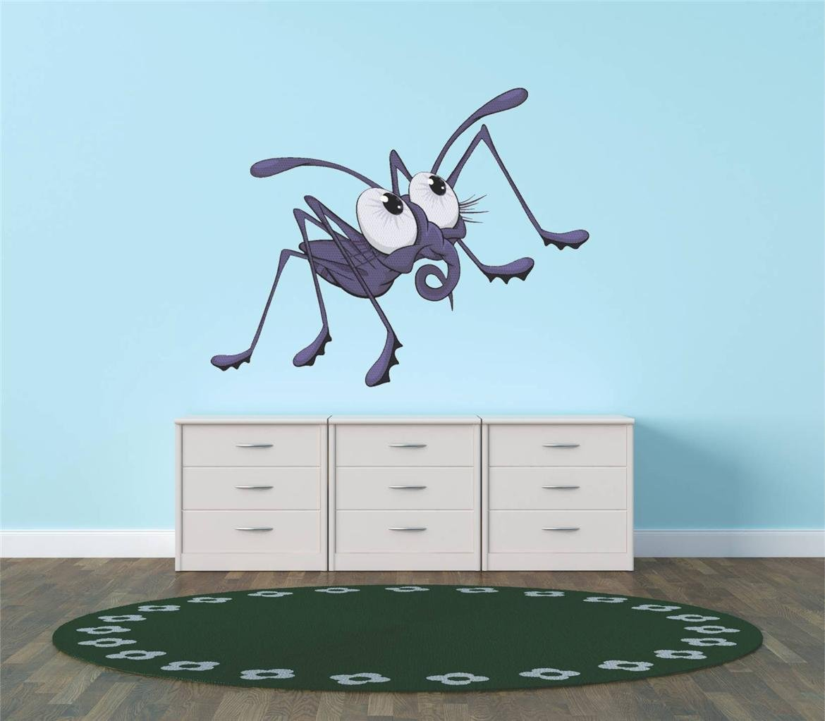 Decal - Vinyl Wall Sticker : Purple Cartoon Ant Insect Boy Girl Kid Children Living Room Bedroom Kitchen Home Decor Picture Art Image Peel & Stick Graphic Mural Design Decoration - Size : 30 Inches X 30 Inches - 22 Colors Available