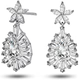 Caperci Sterling Silver Cubic Zirconia Flower & Teardrop Dangle Earrings for Women