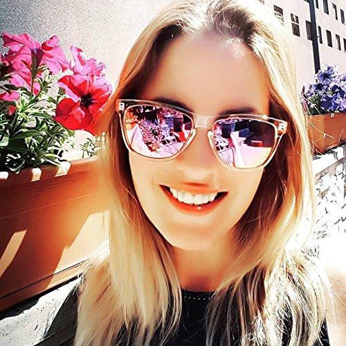 Femme Reflété Lentille Soleil UV400 pour avec de Protection Lunettes Yeux Revêtement pqtcUq