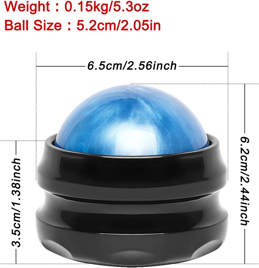 Massage Ball, ProChosen Manual Roller Massager, Self Massage Tool for Sore Muscles, Shoulders, Neck, Back, Foot, Body, Deep Tissue, Trigger Point, Muscle Knots, Yoga and Myofascial Release (Blue): Health & Personal Care