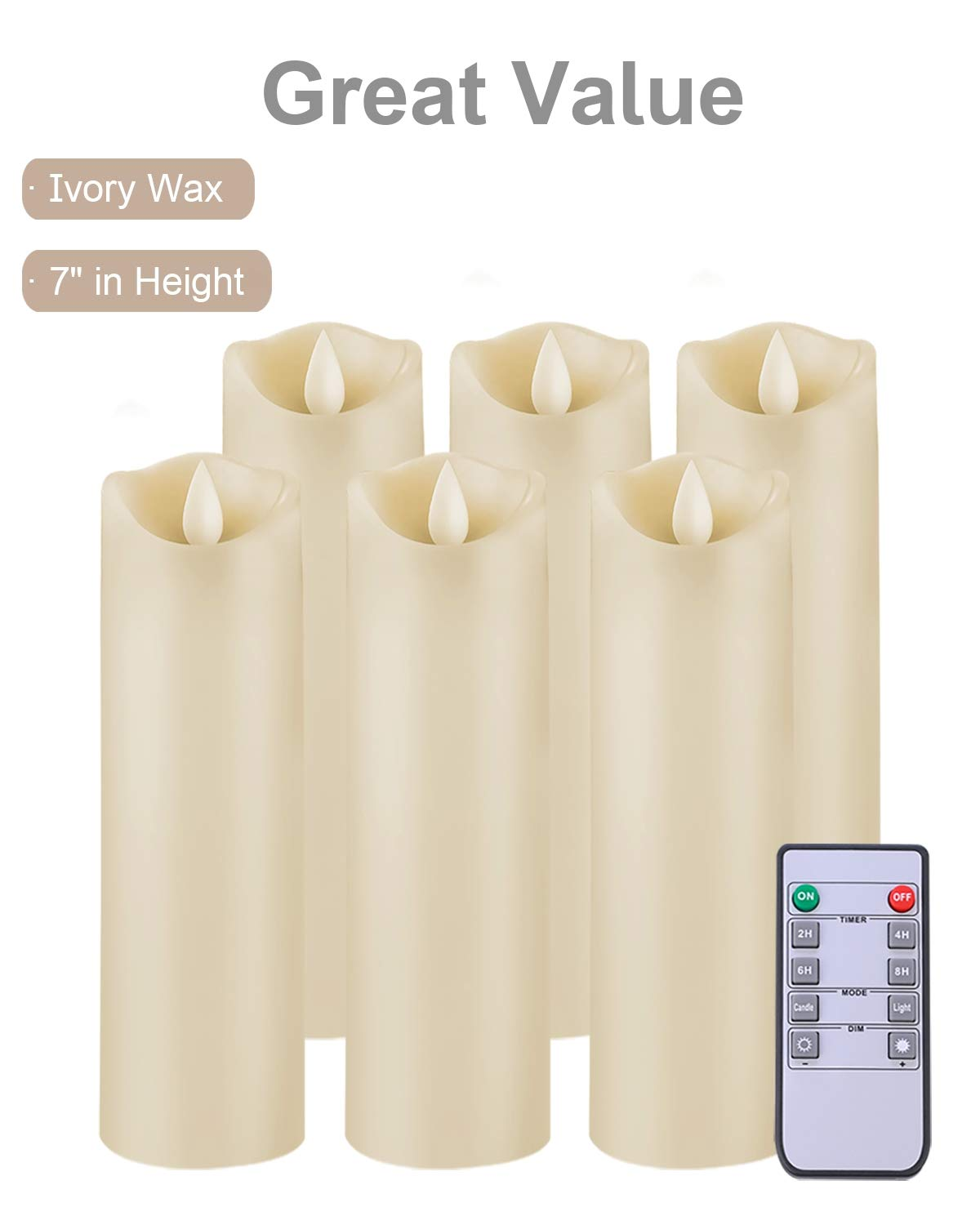 5PLOTS Flameless Candles with Remote and Timer (H7'' x D2.2'') - Flickering LED Pillar Candles with Dancing Flame - Battery Operated, Ivory Wax, Set of 6 by 5PLOTS (Image #2)