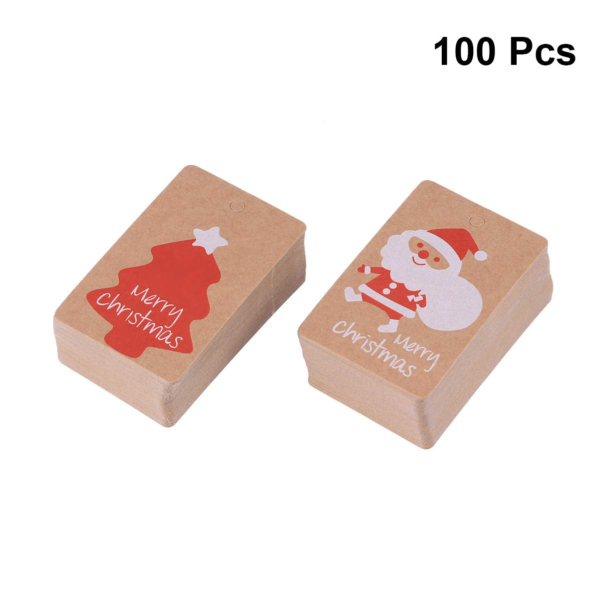 BESTOYARD 100pcs Tag di Carta di Natale Tag Favore Tag Regalo Tabella Nome Tag segnaposto Vuoto Natale Hang Tag colorato Iuta Carta Kraft Tag Senza Corda