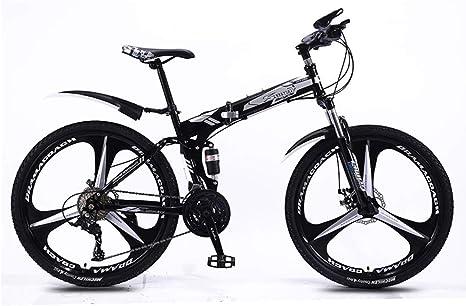 DSAQAO Folding Mountain Bike,21 24 27 30 Velocidad 3 Spoke Bicicleta 26 Pulgadas De Suspensión Completa MTB Bicicletas para Estudiantes Adolescentes Adultos: Amazon.es: Deportes y aire libre