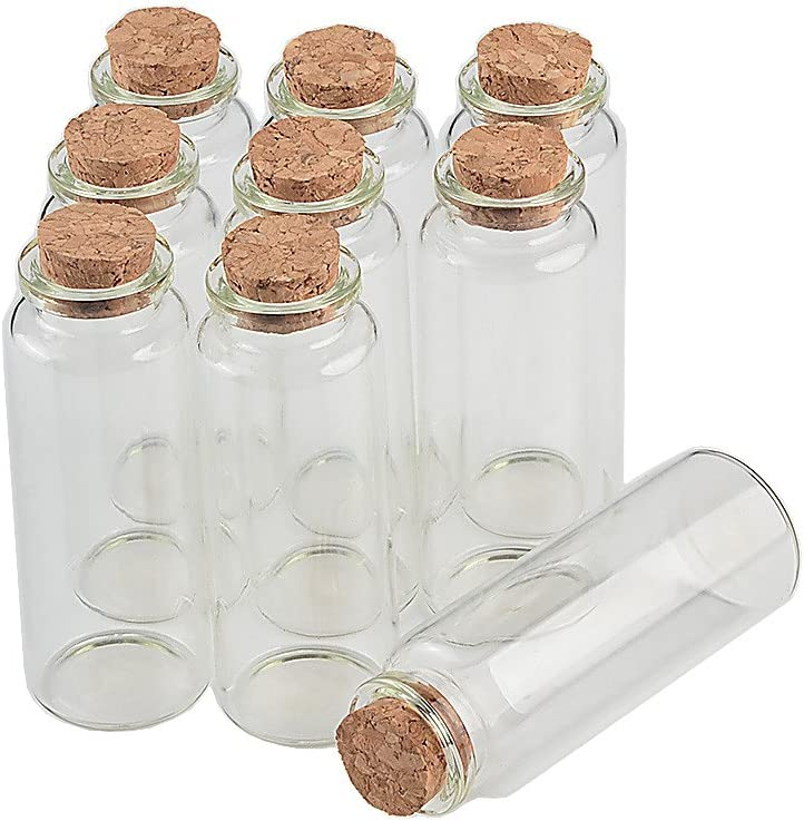 TAI DIAN Empty Mini Bottle with Cork Stopper 40ml Glass Jars idea for Wedding Small Wishing Bottles Wholesale 50pcs (50, 40ml-30x80x17mm)