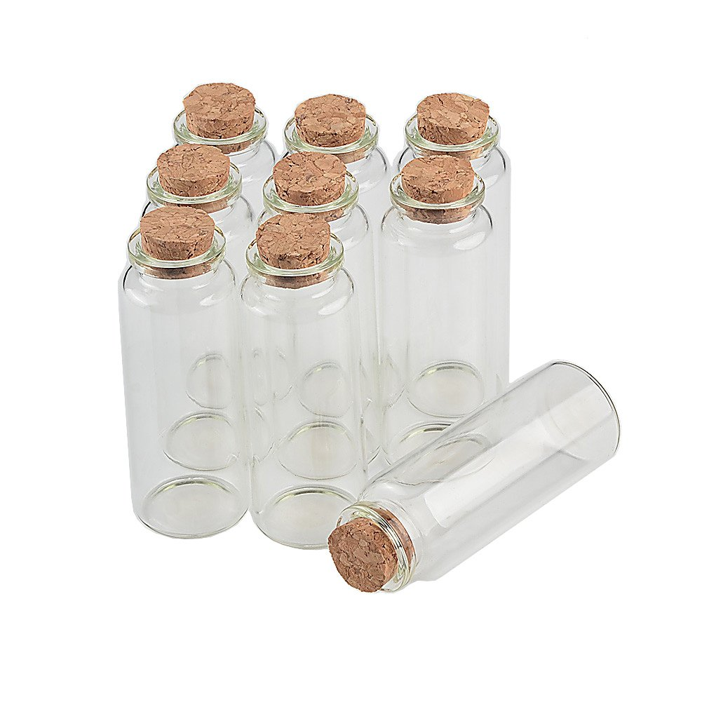 TAI DIAN Empty Mini Bottle with Cork Stopper 40ml Glass Jars idea for Wedding Small Wishing Bottles Wholesale 50pcs (50, 40ml-30x80x17mm) by TAI DIAN