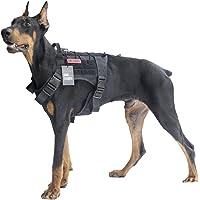 (Large, Black) - OneTigris Tactical Service Dog Vest - Water-resistant Comfortable Military Patrol K9 Dog Harness with Handle
