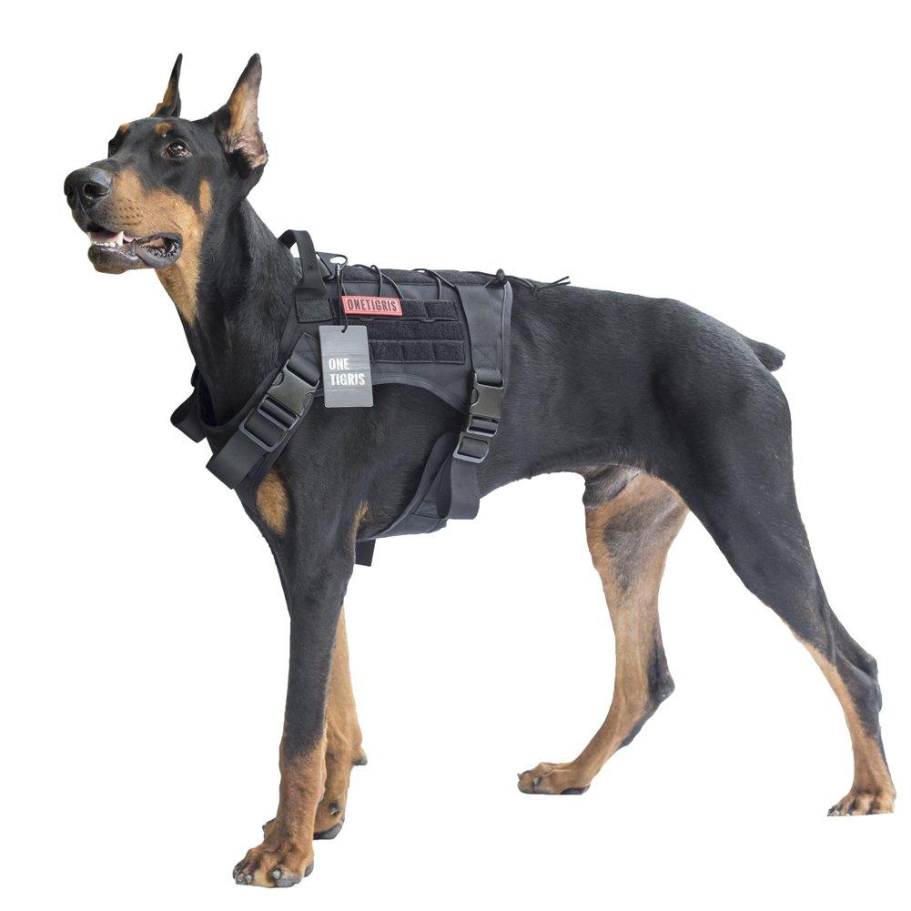 OneTigris Tactical Service Dog Vest - Water-Resistant Comfortable Military Patrol K9 Dog Harness with Handle (Large, Black)