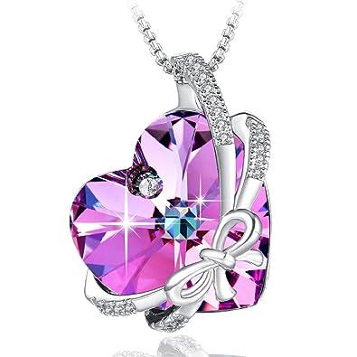 5249ba87a8f2 Swarovski Element Necklace Butterfly Love Heart Crystal Pendant Necklace