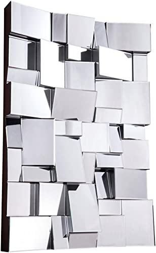 Decor Central Contemporary Rectangle Mirror With MDF Frame 47 Clear Finish