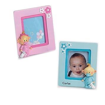 Portafoto de bebe con chupete para bautizo, grabado con nombre y ...