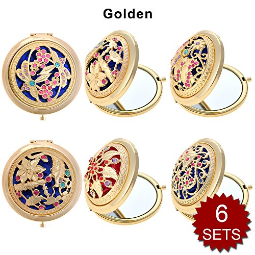 GOGO 6 Sets Pack Makeup Pocket Compact Mirror With Gift Box, Best Wedding Bridesmaid Gifts-Golden 6SETS