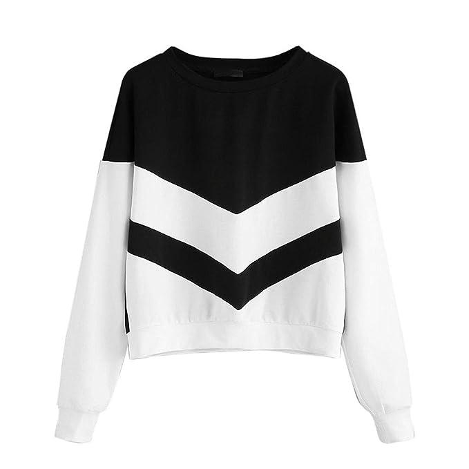 Sudadera Mujeres Sin Capucha Tumblr Sweatshirt Negro Blanco Patchwork Otoño Crop Tops De Manga Larga Cuello Redondo Elegante Cortas Pullover Blusas Pera ...