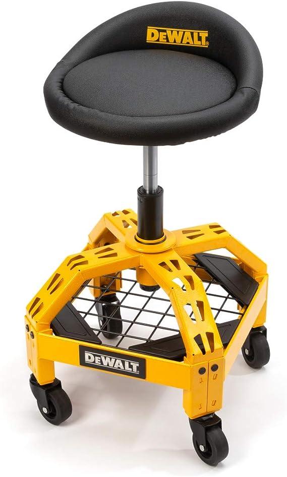 Amazon Com Dewalt Padded Rolling Shop Garage Stool 360 Degree Swivel Seat Durable Steel Frame Adjustable Office Products