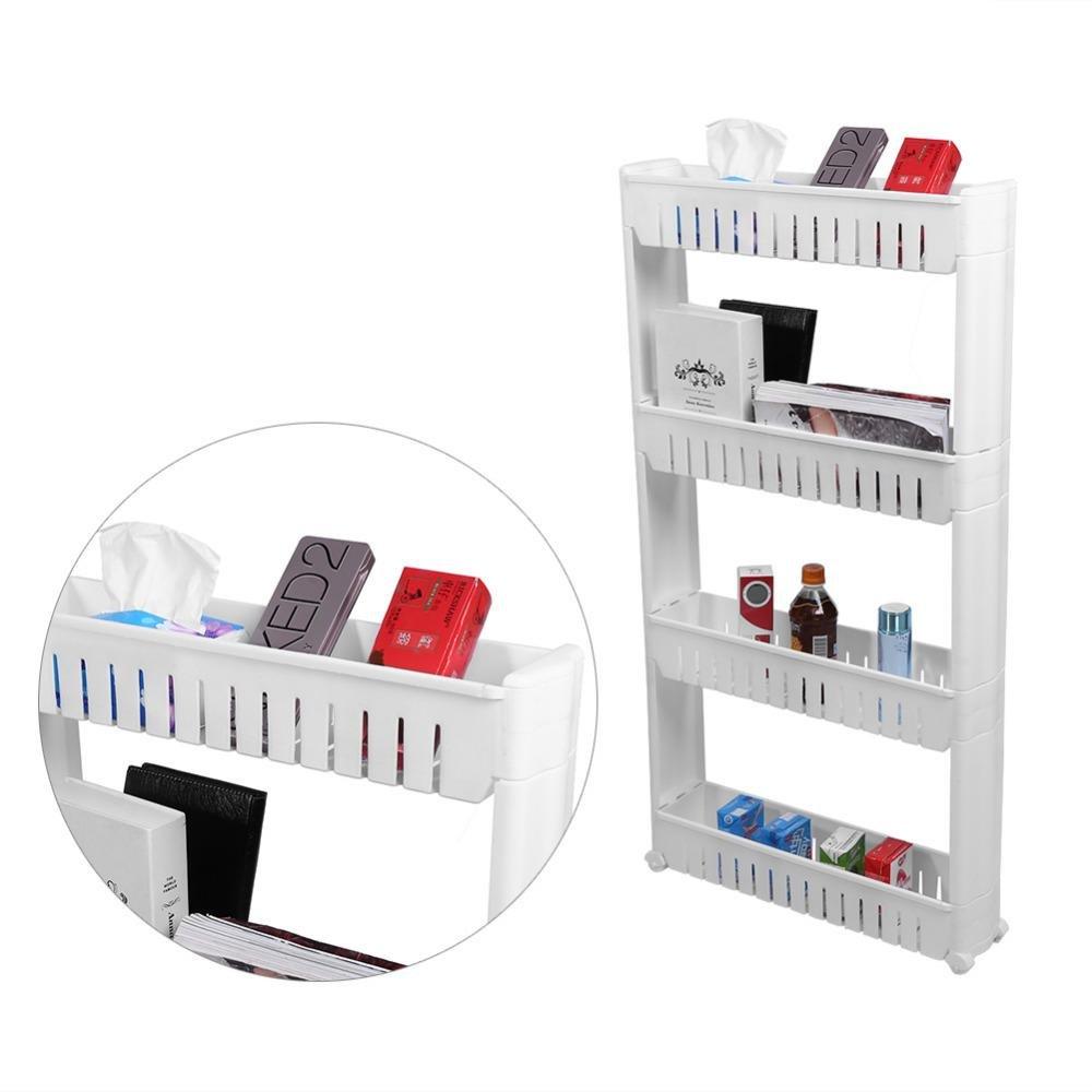 DEENZ 3 Tier Slim Slide Out Kitchen Trolley Rack with Wheel Wall Cabinet Bathroom Shelf White (3 Tier)