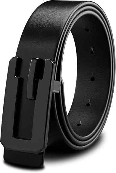 LUCIANO Fashion Black Brown Cowhide Genuine Leather Smooth Buckle Dress Belt for Man