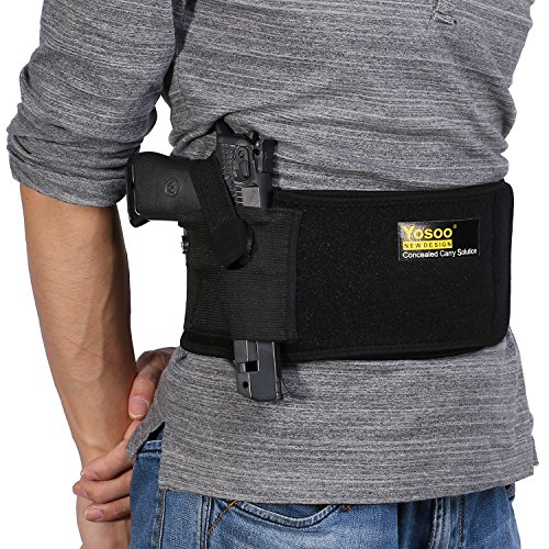 Yosoo-Belly-Band-Gun-Holster-with-Dual-Magazine-Pouches-Magnetic-Buckle-Concealed-Carry-for-Pistols-Handguns-Revolvers-Adjustable-Waist-Size-up-to-44-Left-Right-Handed-Draw-Black