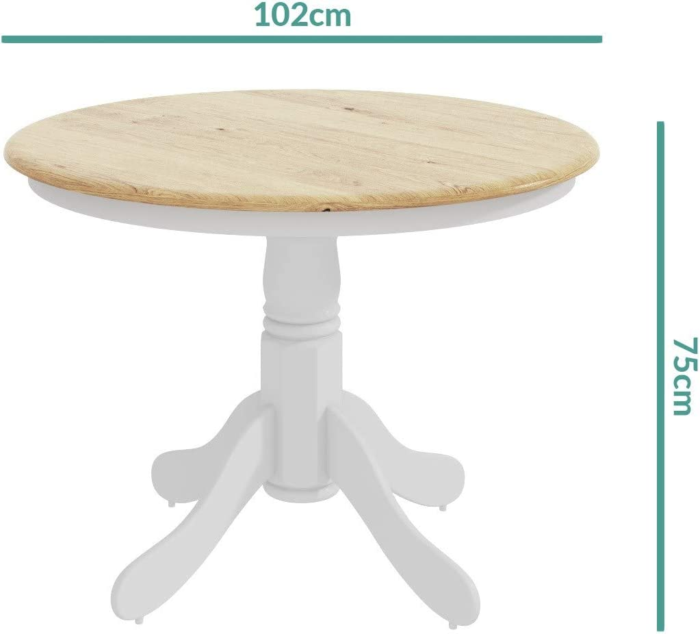 Rhode Island Round Pedestal Dining Table in White with Wood Top - Seats 4