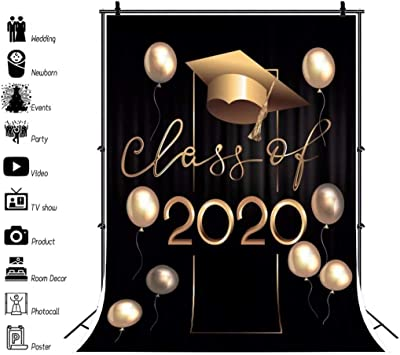 DaShan 14x10ft 2020 Graduation Party Backdrop Class of 2020 Black and White Stripes Bachelor Cap Congrats Grad Prom Photography Background Colleage Grad Congratulation Cake Table Photo Props
