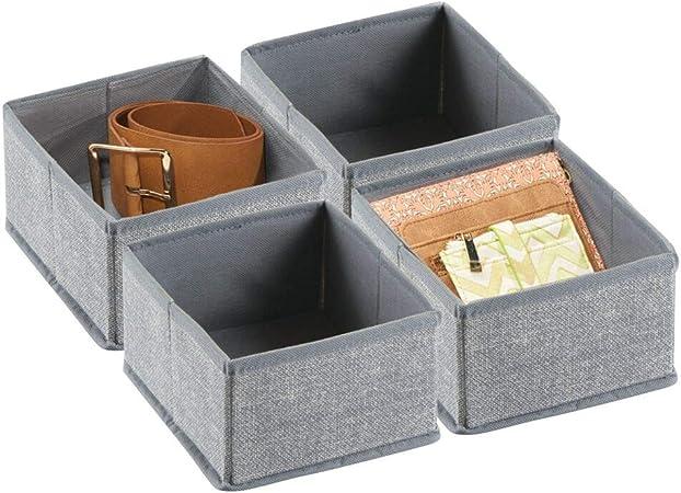 Mdesign Boite De Rangement Pour Armoire Ou Tiroir Lot De 4 Boite De Rangement Tissu Ideale Panier De Rangement Flexible Gris Amazon Fr Cuisine Maison