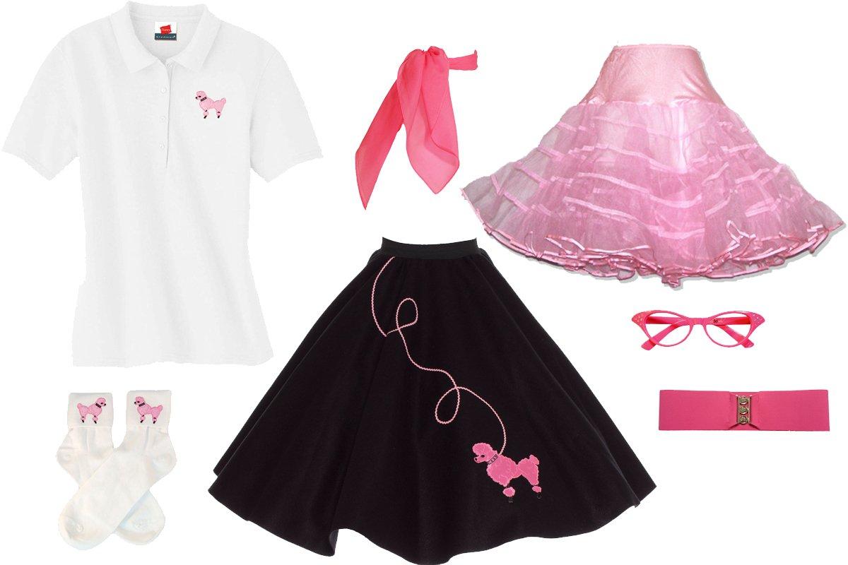 Hip Hop 50s Shop Adult 7 Piece Poodle Skirt Costume Set Black and Pink Medium