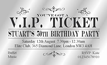 50 magnetic birthday party invitations personalised for you vip 50 magnetic birthday party invitations personalised for you vip ticket adult invites with free envelopes filmwisefo Choice Image