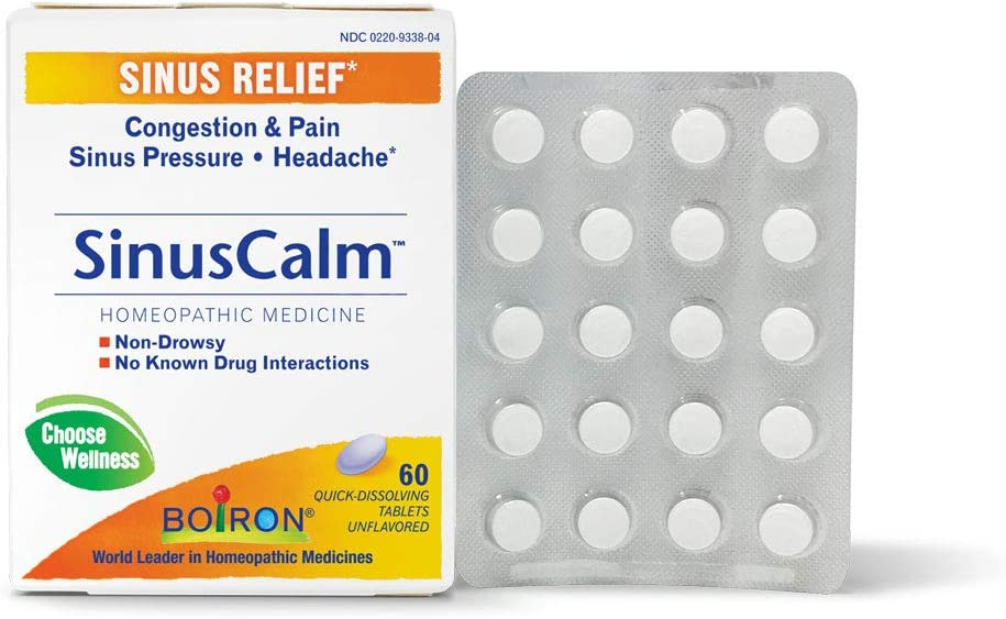 Boiron Sinuscalm Sinus Relief Medicine, Tablets for Runny Nose, Congestion, Sinus Pressure, Headache, 60 Tablets, Non-Drowsy, 60 Count