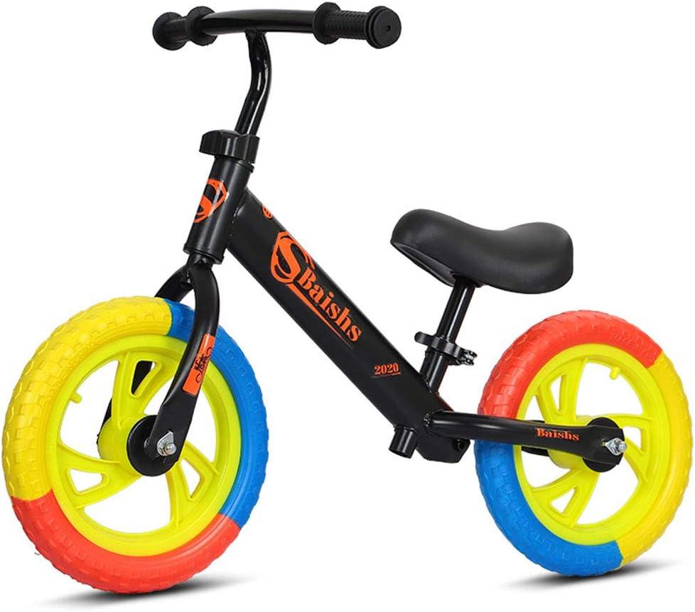 DFSSD Niños Primero Bicicletas, Equilibrio formación Bicicleta, Neumáticos de Colores, Smooth Bearings, Ahorra Esfuerzo, por 2-6 años de Edad Chico y niños pequeños,Negro