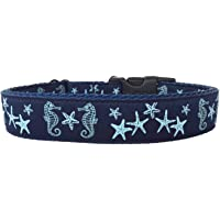 micro business crafter made in the USA Seahorses and Sea Stars Dog Collar fits a medium to large size dog
