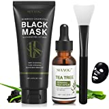 Blackhead Remover Mask, SHVYOG 3-in-1 Blackhead Peel Off Face Mask with Brush & Tea Tree Serum, Purifying & Deep Cleansing Ch