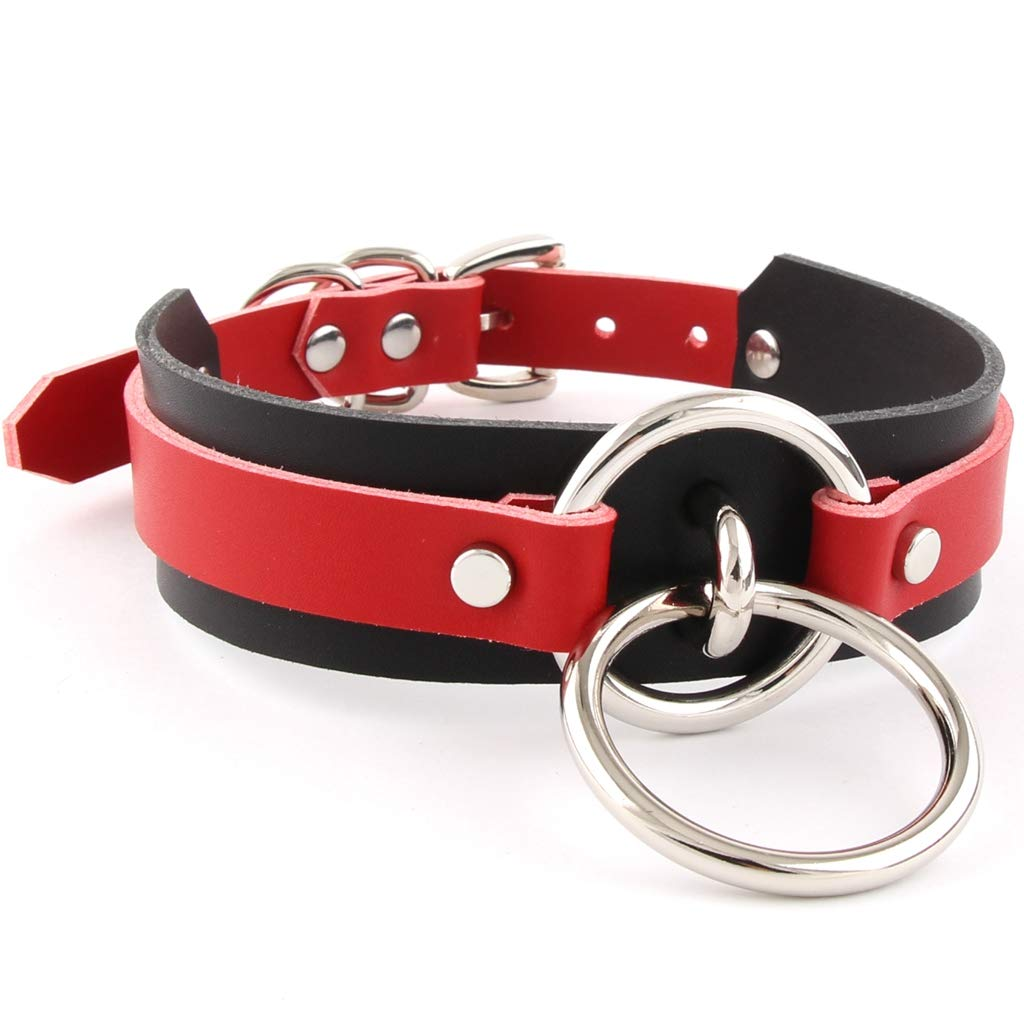 Handmade Womens Double O Ring Faux Leather Choker Collar (Black and Red)