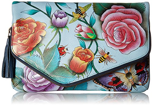 - Anuschka Hand Painted Leather Women's Convertible Envelope Clutch Wristlet, Roses d'amour