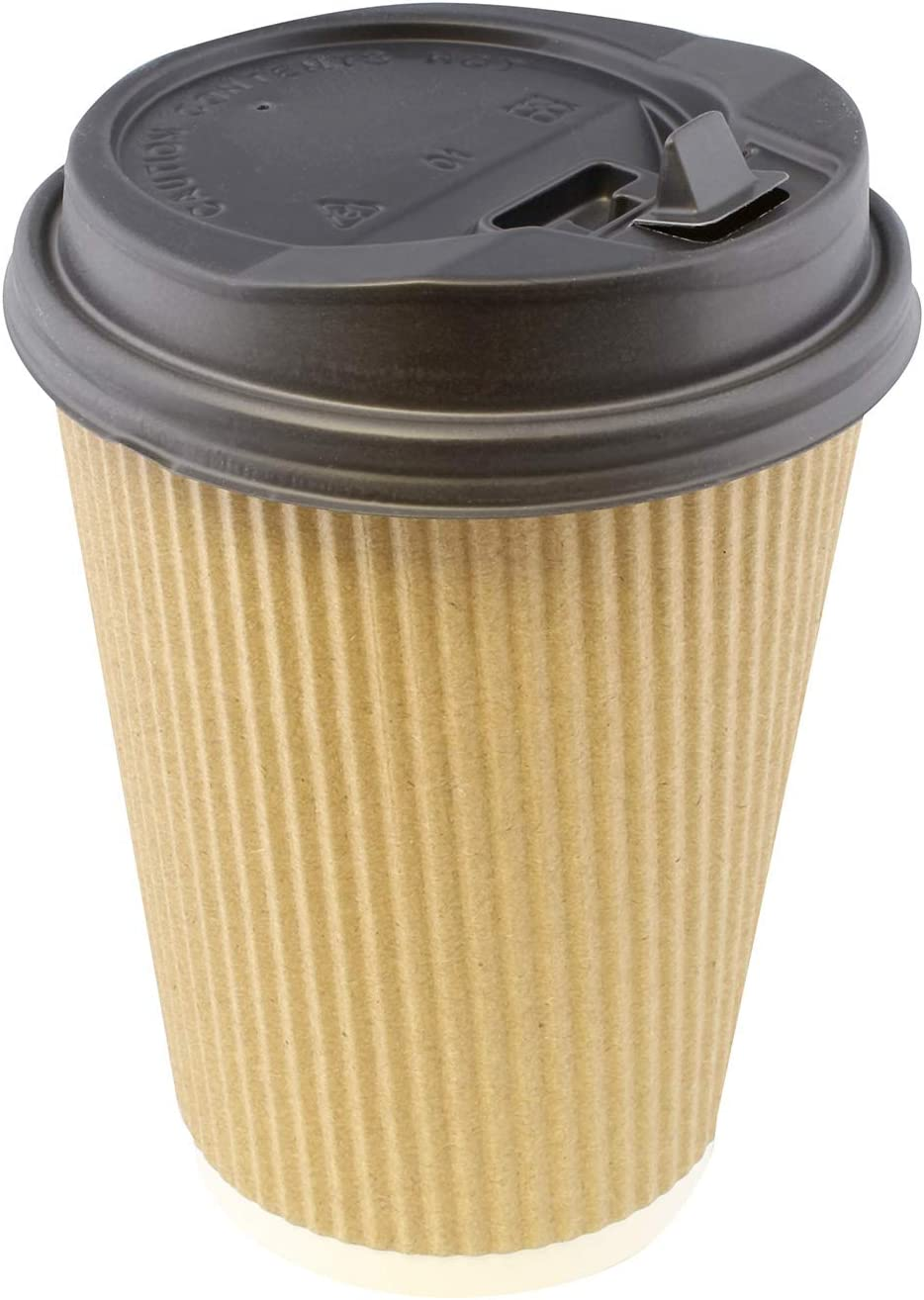 Lot45 Disposable Paper Cups with Lids, 100 Pack - 12 oz Coffee Cups To Go Expresso Cups with Rippled Sleeve in Brown