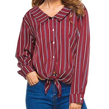 446b9f6a Womens Striped Casual Long Sleeve Button Down Shirt Tops and Blouses(Red -Small)