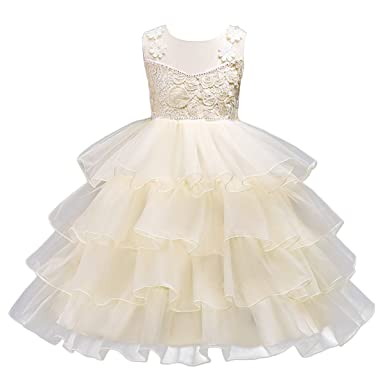 b2eac18d03f IWEMEK Kids Girl Ruffles Flower Lace Tulle Christening Wedding Birthday  Dress Rhinestone Princess Pageant Party Dance