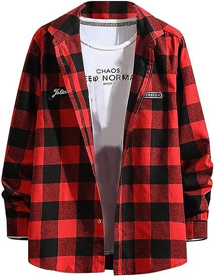 ZODOF camisa hombre camisas sport Manga Larga Impresión de Celosía Slim Fit Solapa con Botones Estilo Diario Slim Fit Camisas Blusa Tops Moda para hombre(XXXL,rojo): Amazon.es: Instrumentos musicales