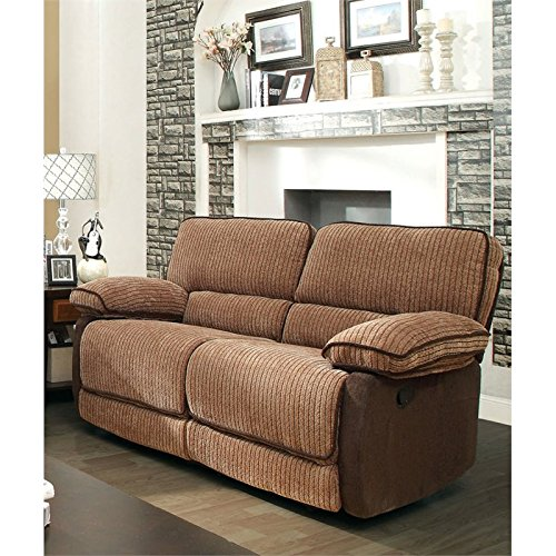 Mocha Reclining Loveseat (Furniture of America Bernard Chenille Reclining Loveseat in Brown)