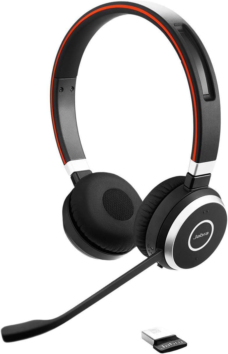 Jabra Evolve 65 - Auricular con micrófono estéreo inalámbrico con Bluetooth, optimizado para comunicaciones unificadas
