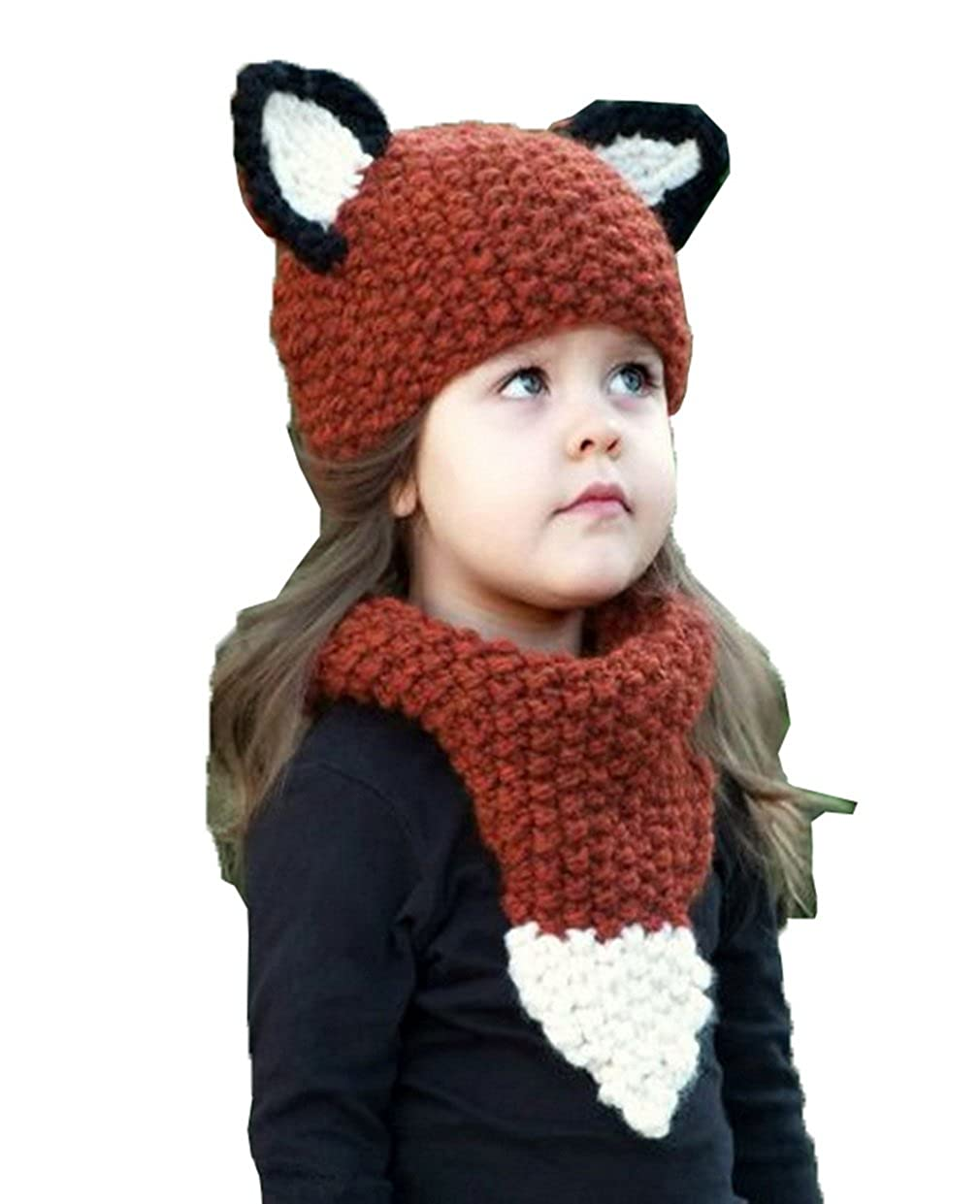 COMVIP Baby Kids Winter Beanies Knit Caps Hooded Fox Ear Hat Scarves Wine 7HAT049*1$EE