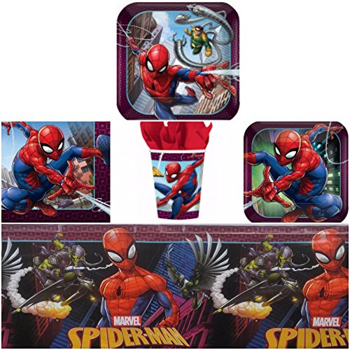 Spider Man Party Table Cover (Spiderman Birthday Party Supplies Pack for 8 Guests - Lunch Plates, Dessert Plates, Lunch Napkins, Cups, Table Cover)