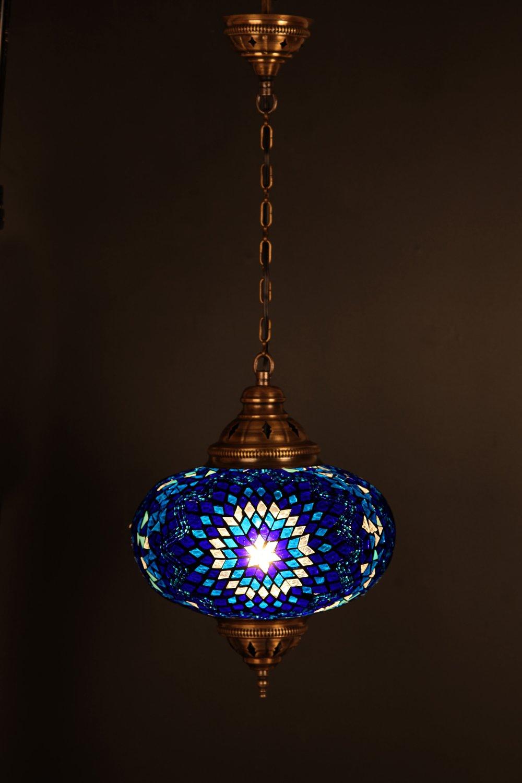 (Height: 11.8 in) Mosaic Chandelier Set 1 Single Globe, Handmade Authentic Tiffany Lighting Moroccan Lamp Glass Stunning Bedside Night Lights Brass&Glass Ottoman Turkish Style