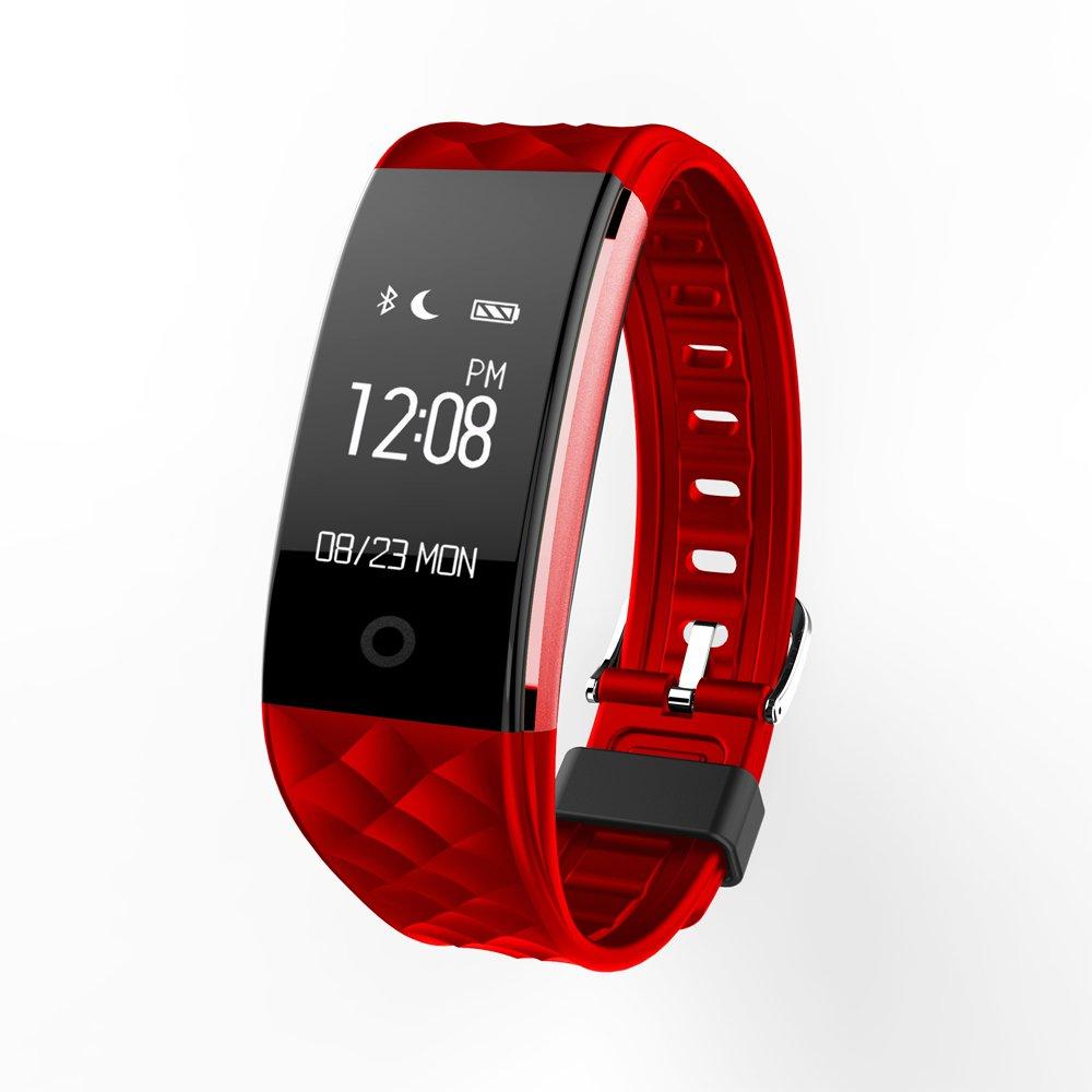 Fitness tracker s2スマートリストバンドサポートハートレートSleep Monitor SMS Reading Weather防水ip67スマートバンドfor iOS Androidシステム電話 B074FV7B48 レッド