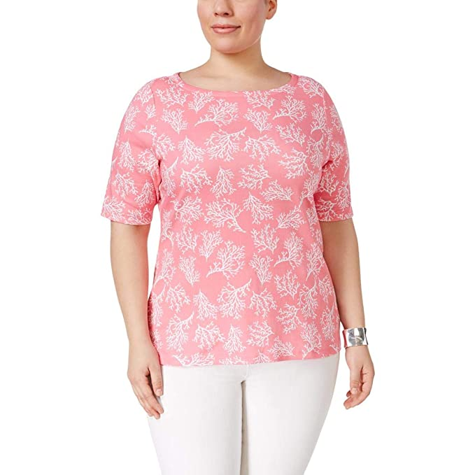 8a0a5979481 Charter Club Plus Size Cotton Floral-Print T-Shirt in Strawberry Ice Pink  Combo