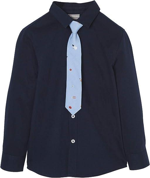 VERTBAUDET Camisa y Corbata niño Especial Navidad Azul Oscuro Liso ...