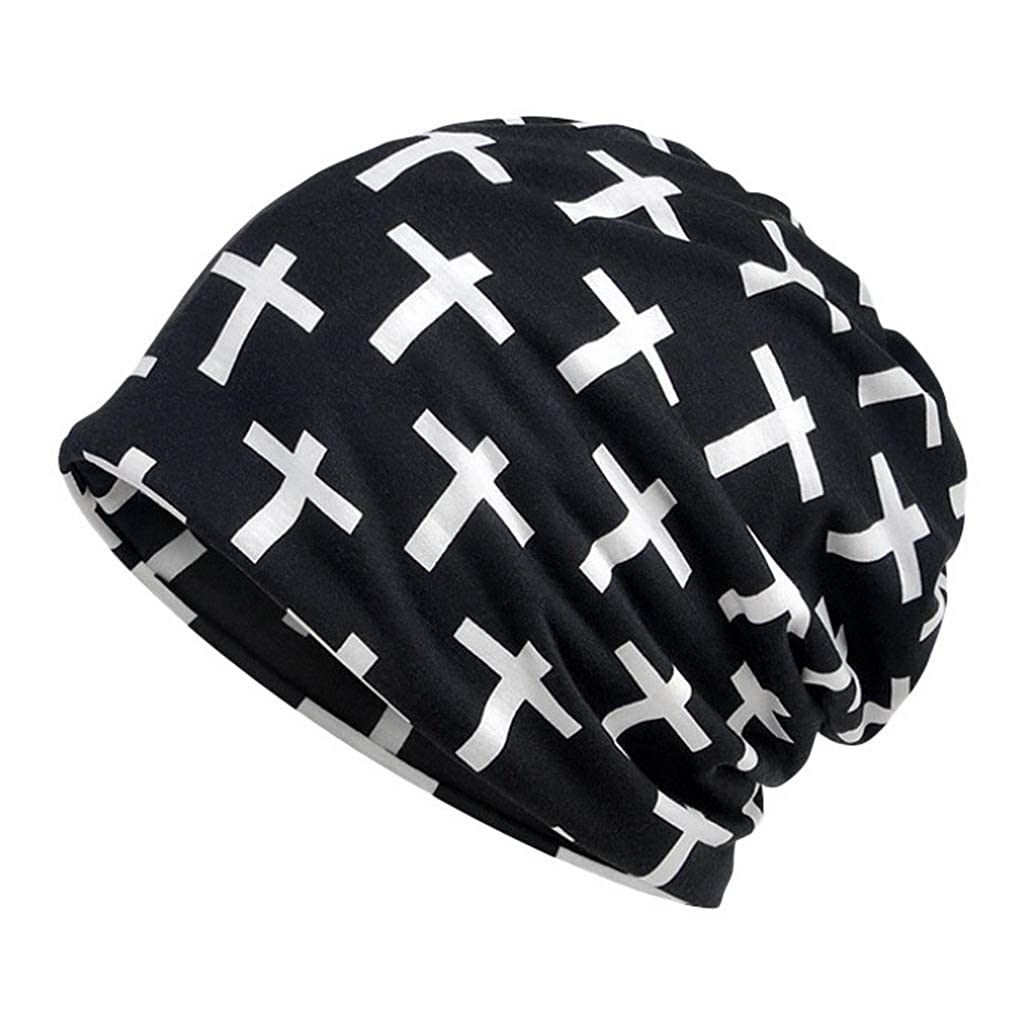 COMVIP 2Kinds Adults Printed Sun Protection Headwrap Winter Thick Scarf Beanies