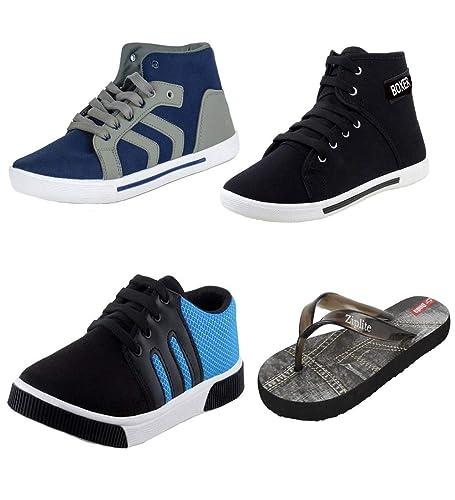 722c9ea58 Bersache Men Combo Pack of 4 Casual Shoes with Flip-Flops (10 UK ...