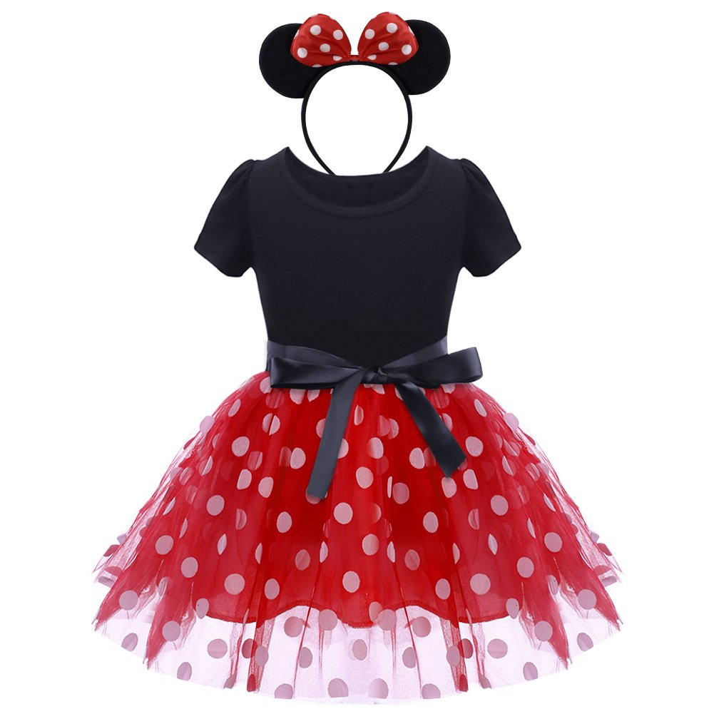 Infant Baby Toddlers Girls Christmas Polka Dots Birthday Princess Bowknot Tutu Dress Halloween Xmas Cosplay Carnival Pageant Cute Mouse Dress up Fancy Costume Party Outfits with Headband 1-6 Years